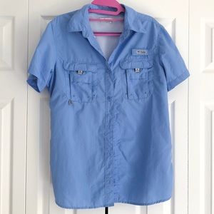 Columbia PFG light blue shirt sleeve size medium